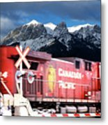 Canadian Pacific Trail Slices Through The Rockies Metal Print