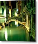 Canal And Bridge In Venice At Night Metal Print