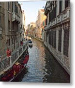 Canal And Gondola Metal Print