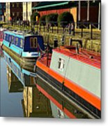Canal Barges At Gloucester Dock Metal Print