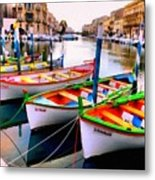 Canal Boats On A Canal In Venice L A S Metal Print