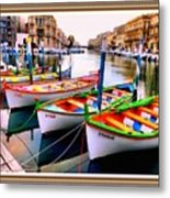 Canal Boats On A Canal In Venice L A S With Decorative Ornate Printed Frame.  Metal Print