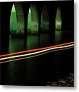 Canal By The Firehouse In Venice At Night Metal Print