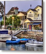 Canal Houses And Boats Metal Print