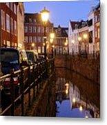 Canal Kromme Nieuwegracht In Utrecht In The Evening 15 Metal Print