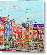 Canal Of Amsterdam, Bridge And Westerkerk Metal Print