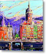 Canal Of Amsterdam, Storm Is Comming Metal Print