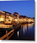 Canal Thorbeckegracht In Zwolle At Dusk With Boats Metal Print