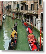 Canal With Gondolas In Venice Italy Metal Print