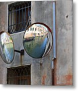Canals Reflected In Mirrors In Venice Italy Metal Print