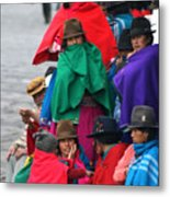 Canari Queue In Felt Hats Bright Cloaks Alausi Ecuador Metal Print