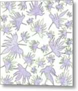 Canary Vine Leaves - Purple And Green Metal Print