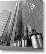 Canary Wharf Financial District In Black And White Metal Print