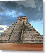 Cancun Mexico - Chichen Itza - Temple Of Kukulcan-el Castillo Pyramid 3  Metal Print