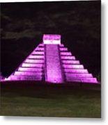 Cancun Mexico - Chichen Itza - Temple Of Kukulcan-el Castillo Pyramid Night Lights 2 Metal Print