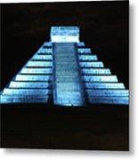 Cancun Mexico - Chichen Itza - Temple Of Kukulcan-el Castillo Pyramid Night Lights 3 Metal Print