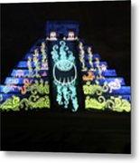 Cancun Mexico - Chichen Itza - Temple Of Kukulcan-el Castillo Pyramid Night Lights 6 Metal Print