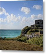 Cancun Mexico - Tulum Ruins - Temple For God Of The Wind 1 Metal Print