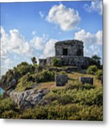 Cancun Mexico - Tulum Ruins - Temple For God Of The Wind 2 Metal Print