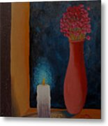 Candle In The Window Metal Print