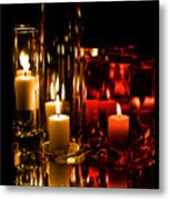 Candle Reflection Metal Print