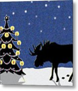 Candlelit Christmas Tree And Moose In The Snow Metal Print