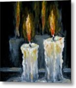 Candles Oil Painting Metal Print