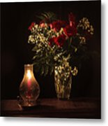Candlestick And Roses Metal Print