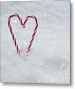 Candy Canes In Snow Metal Print
