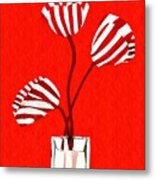 Candy Stripe Tulips Metal Print
