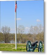 Cannon And Flagpole Overlooking River Metal Print