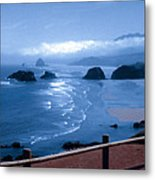 Blue Waters On Cannon Beach Metal Print