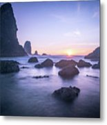Cannon Beach Rocks Sunset Metal Print