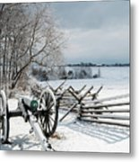 Cannon Under Snow Metal Print