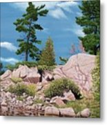 Canoe Among The Rocks Metal Print