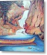 Canoe And Waterfall Metal Print
