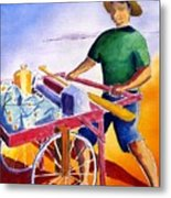 Canoe Fisherman With Cart Metal Print