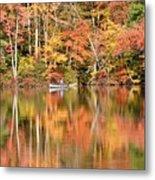 Canoe Fishing  Fall Metal Print