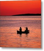 Canoe Fishing Metal Print