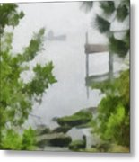 Canoe In Lake Fog Metal Print