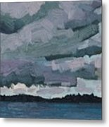 Canoe Lake Rain Clouds Metal Print