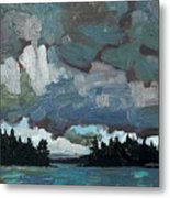 Canoe Lake Rain Metal Print
