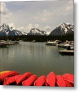Canoe Meeting At Jackson Lake Metal Print