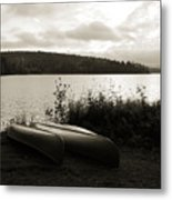 Canoe On A Shore Of A Lake At Dawn Metal Print