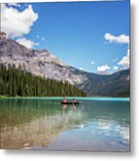 Canoe On Emerald Lake British Columbia Metal Print