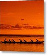 Canoe Paddlers Metal Print