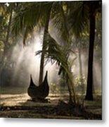 Canoe Under Palm Trees In Kerala, India Metal Print