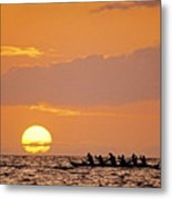 Canoeing At Sunset Metal Print