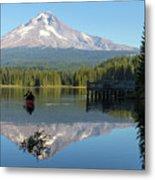 Canoeing At Trillium Lake Metal Print