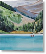 Canoeing-in-lake-louise Metal Print